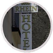 Rhine Hotel St Martin Sign  Round Beach Towel