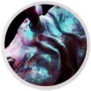 Rhino 1 - Rhinoceros Art Prints Round Beach Towel by Sharon Cummings