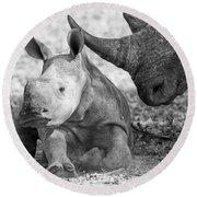 Rhino And Baby Round Beach Towel