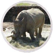 Rhino Eating Round Beach Towel