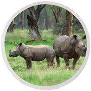 Rhino Family Round Beach Towel