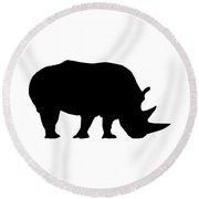 Rhino In Black And White Round Beach Towel