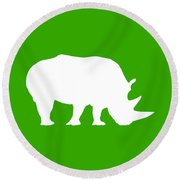 Rhino In Green And White Round Beach Towel