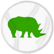 Rhino In Green Round Beach Towel