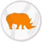 Rhino In Orange And White Round Beach Towel