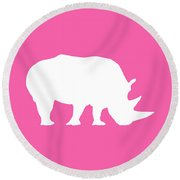 Rhino In Pink And White Round Beach Towel