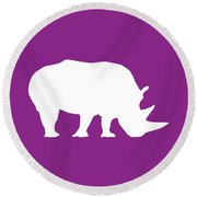 Rhino In Purple And White Round Beach Towel