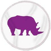 Rhino In Purple Round Beach Towel