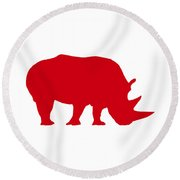 Rhino In Red And White Round Beach Towel