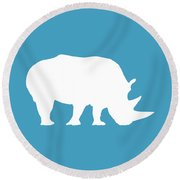 Rhino In White And Turquoise Blue Round Beach Towel