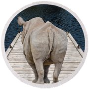 Rhino On The Dock Round Beach Towel