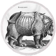 Rhinoceros No 76 From Historia Animalium By Conrad Gesner  Round Beach Towel