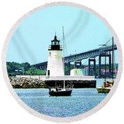 Rhode Island - Lighthouse Bridge And Boats Newport Ri Round Beach Towel