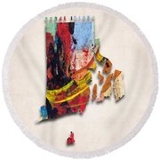Rhode Island Map Art - Painted Map Of Rhode Island Round Beach Towel