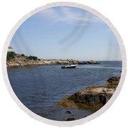 Rhode Island Seascape And House Round Beach Towel