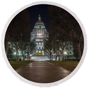 Rhode Island State House In Providence Rhode Island Round Beach Towel
