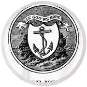 Rhode Island State Seal Round Beach Towel
