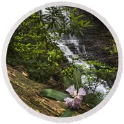 Rhododendron At The Falls Round Beach Towel