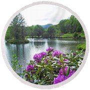Rhododendron Blossoms And Mountain Pond Round Beach Towel
