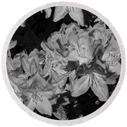 Rhododendron Heaven In Black And White Round Beach Towel