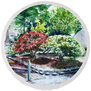 Rhododendrons In The Yard Round Beach Towel