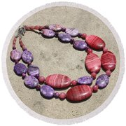 Rhodonite And Crazy Lace Agate Double Strand Chunky Necklace 3636 Round Beach Towel
