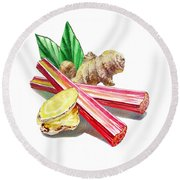 Rhubarb And Ginger Round Beach Towel