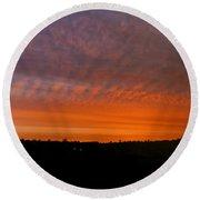 Rhymney Valley Sunrise Panorama Round Beach Towel