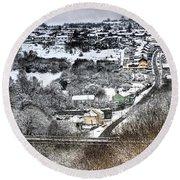 Rhymney Valley Winter 2 Round Beach Towel