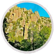 Rhyolite Columns On Ed Riggs Trail In Chiricahua National Monument-arizona Round Beach Towel