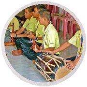 Rhythm Section In Traditional Thai Music Class  At Baan Konn Soong School In Sukhothai-thailand Round Beach Towel