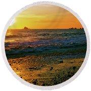 Rialto Beach Sunset Olympic National Park Round Beach Towel