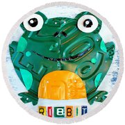 Ribbit The Frog License Plate Art Round Beach Towel