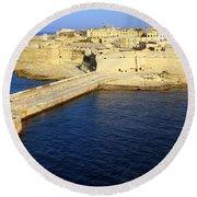Ricasoli Breakwater At Valletta's Grand Harbor Round Beach Towel