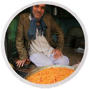 Rice And Bean Seller Round Beach Towel