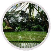 Rice Fields Bali Round Beach Towel
