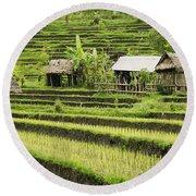 Rice Fields In Bali Indonesia Round Beach Towel