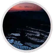 Rice Terrace After Sunset Round Beach Towel