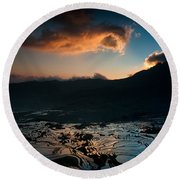 Rice Terrace And Cloud Round Beach Towel