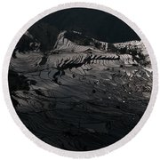 Rice Terrace In Black And White Round Beach Towel