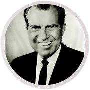 Richard M Nixon Round Beach Towel by Benjamin Yeager