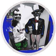 Richard Nixon Masks Uncle Sam Collage  Democratic National Convention Miami Beach Florida 1972-2008 Round Beach Towel