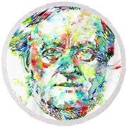 Richard Wagner Watercolor Portrait Round Beach Towel