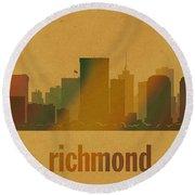 Richmond Virginia City Skyline Watercolor On Parchment Round Beach Towel