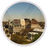 Richmond Virginia - Old And New Capitol Buildings Round Beach Towel