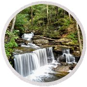 Ricketts Glen Delaware Falls Round Beach Towel