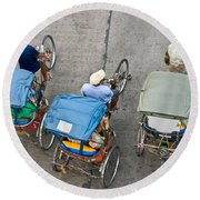 Rickshaw Driver - Bangkok Round Beach Towel