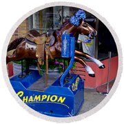 Ride The Champion Round Beach Towel