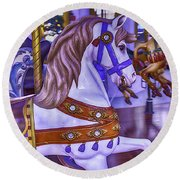 Ride The White Horse Round Beach Towel