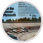 Ride With The Winner... Plymouth Round Beach Towel